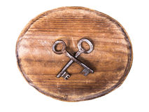 Wooden signboard and rusty keys Royalty Free Stock Images