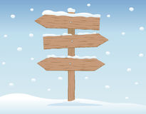 Wooden signboard in snow 2 Royalty Free Stock Photography
