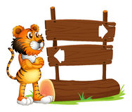 A wooden signboard with a tiger Stock Image