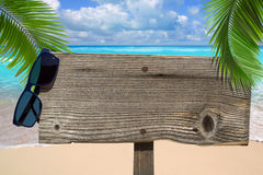 Wooden signboard under palm fronds Stock Photo