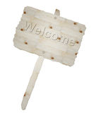 Wooden signboard and word welcome Stock Image