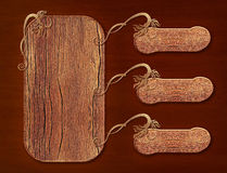 Wooden signboards, banners with ornament Royalty Free Stock Image