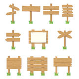 Wooden signboards, wood arrow sign set. Stock Image