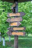 Wooden signpost with arrows. Empty wooden signpost with arrows stock photography