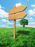 Wooden signpost background Royalty Free Stock Photography