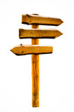 Wooden signpost - blank space, isolated Stock Photo