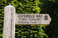 Wooden signpost, Broadway. Wooden Cotswold Way signpost giving directions to Broadway Tower, Broadway, Cotswolds, Worcestershire, England, UK, Western Europe stock photos