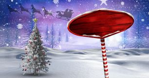 Wooden signpost in Christmas Winter landscape and Santa`s sleigh and reindeer`s and Christmas tree. Digital composite of Wooden signpost in Christmas Winter royalty free illustration