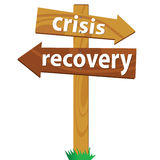 Wooden signpost for the crisis and recovery Stock Photos