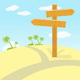 Wooden signpost at crossroads in desert. On sunny day. Vector illustration Stock Photos