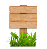 Wooden Signpost with Grass Isolated on White Stock Image