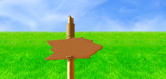 Wooden Signpost in Green Field. The Right Way To Success (Handmade Wooden Signpost Over Wide Field View stock images