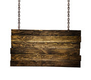 Wooden signpost hanging on chains Royalty Free Stock Photos
