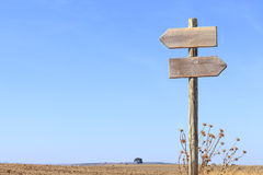 Wooden signpost indicating directions Royalty Free Stock Photo