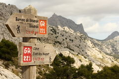 Wooden signpost in Mallorca. Wooden signpost in mountains in Mallorca royalty free stock photos
