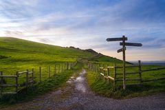 Wooden signpost near a path. In Plentzia royalty free stock photography