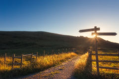 Wooden signpost near a path Stock Image