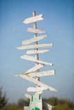 Wooden signpost. An old wooden signpost with blank arrows for you to add your own text royalty free stock image