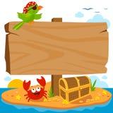 Wooden signpost on pirate island. vector illustration