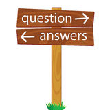 Wooden signpost for questions and answers vector illustration Royalty Free Stock Images