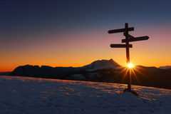 Wooden signpost in Saibi with view of Anboto mountain Royalty Free Stock Image