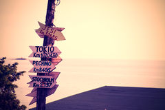 Wooden signpost. In a Sardinian beach Royalty Free Stock Photo