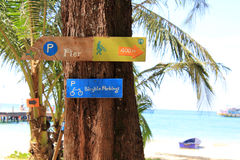Wooden signpost on the seaside Royalty Free Stock Photos