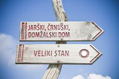 Wooden signpost to the famous place called Velika Planina, which in Slovenian means great plateau is one of the most important Slo. Venian highlands Europe royalty free stock images