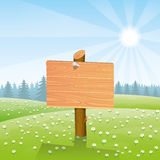 Wooden signpost. Vector illustration. Wooden signpost for your text Royalty Free Stock Photography