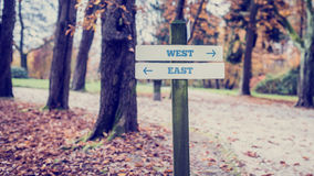 Wooden Signpost for West and East Directions Royalty Free Stock Image