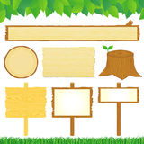 Wooden signs. Set of wooden signs. Vector illustration Royalty Free Stock Photos