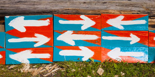 Wooden signs with an arrow. Royalty Free Stock Images