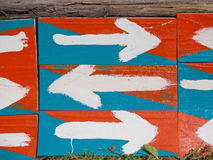 Wooden signs with an arrow. Royalty Free Stock Photo