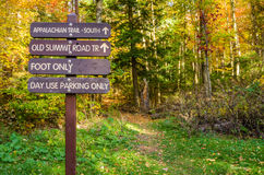 Wooden Signs at the Beginning of a Trail Stock Photos