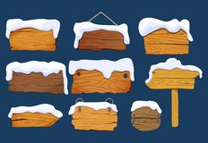 Wooden signs boards with snow. Set different Wooden signs boards shapes, vector elements. Vector illustration isolated royalty free illustration
