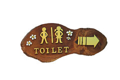 Wooden signs for directions to the bathroom. Royalty Free Stock Photos