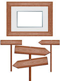 Wooden signs and frame. Vector image of wooden signs and picture frame Royalty Free Stock Photo