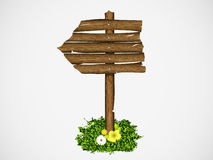 Wooden signs with grass Royalty Free Stock Images