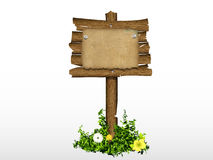 Wooden signs with grass Royalty Free Stock Image