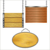 Wooden Signs Hanging on Metal Chain Set. Vector Royalty Free Stock Photos