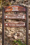 Wooden signs. Inside the natural reserve of the necropolis Pantalica, Sicily royalty free stock photo