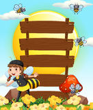Wooden signs and little girl in bee outfit. Illustration royalty free illustration