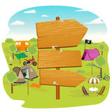 Wooden signs near a campsite. Illustration of wooden signs near a campsite Stock Photo