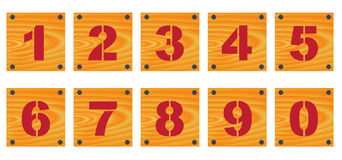 Wooden signs with numbers Stock Images
