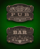Wooden signs for Pub and Bar Stock Images