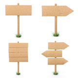 Wooden signs set. 3d rendering Stock Photos