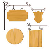 Wooden signs set . Vector. Royalty Free Stock Photography