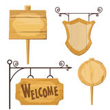 Wooden signs set . Vector Stock Photo