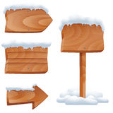 Wooden signs in snow vector set Royalty Free Stock Photo