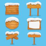 Wooden signs with snow. Winter holidays vector elements. Christmas wooden billboard banner, signboard directional.  Stock Photo